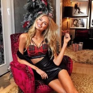 VS x BALMAIN Red Plaid Strappy Long Line NWT 36D